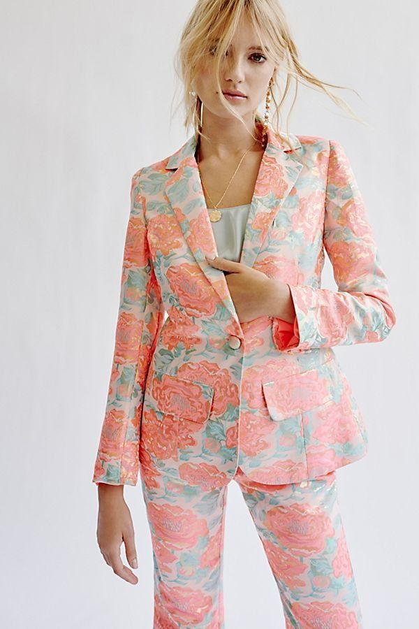 3b6a032dd7 Jackpot Brocade Blazer Set - Pastel Peach and Blue Floral Suit Set -  Women's Floral Suit Set - Statement Suit Set - Fashion Suit Set - High  Fashion Suits ...