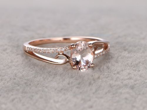 Engagement Rings : 6x8mm Oval Morganite Engagement Ring Diamond Wedding Ring 14k Rose Gold Simple S... #Rings https://inwomens.com/2018/03/07/engagement-rings-6x8mm-oval-morganite-engagement-ring-diamond-wedding-ring-14k-rose-gold-simple-s/