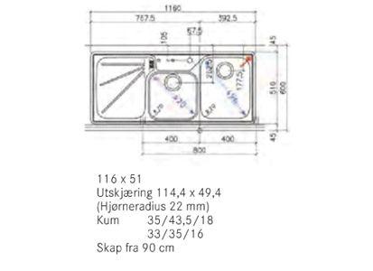 Franke Ariane ARX 624 Kjøkkenkum 1160x510 mm, kum høyre, for nedfelling