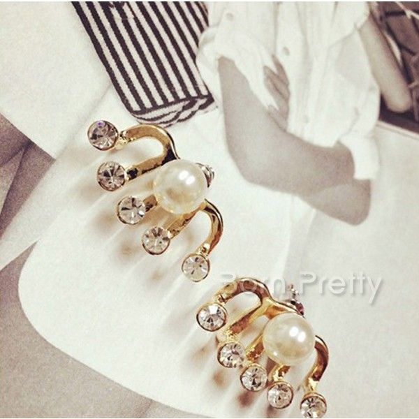 $2.61 Shiny Pearl Earrings Dazzling Rhinestone Ear Studs - BornPrettyStore.com