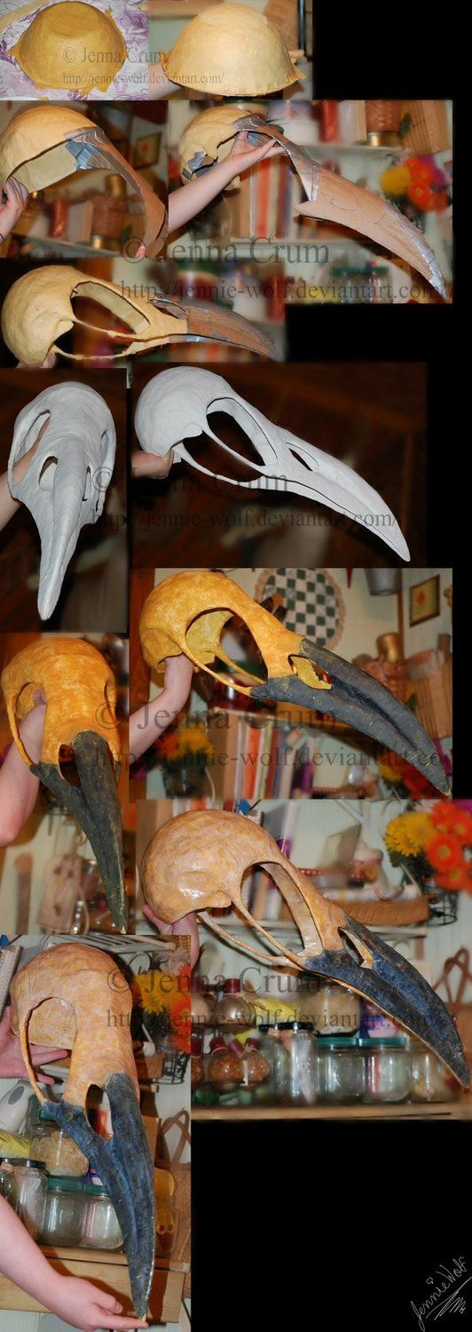 Diy Crow Skull Mask using cardboard , duct tape, foam, wire, and paper mache.