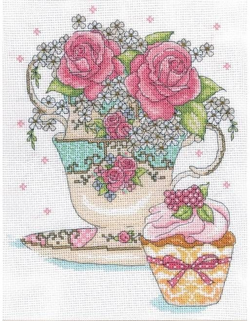 Teacup Roses Cross Sch Kit