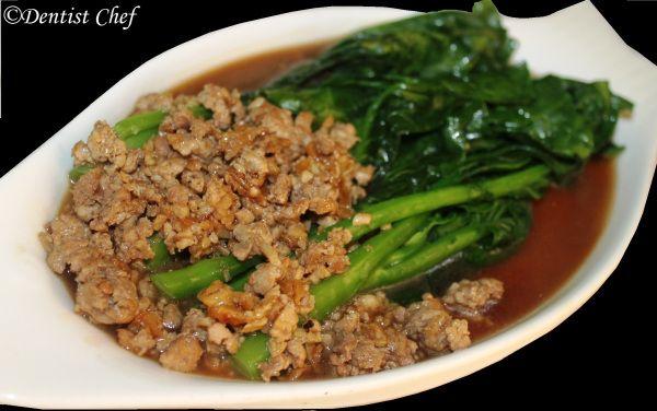 Resep Kailan Siram Daging Sapi Ala Dentist Chef Kailan Chinese Broccoli With Grounded Beef Daging Sapi Resep Sapi