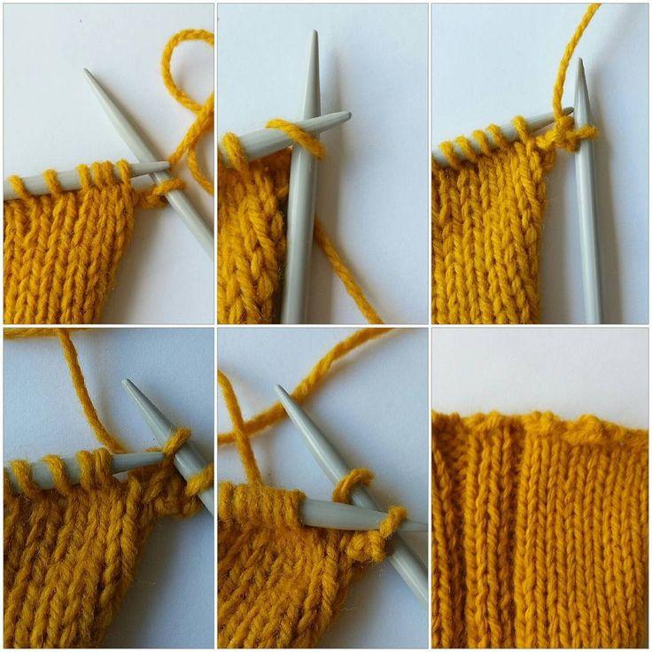 Okej, en annan elastisk avmaskning. Och en krusidullig! Det är nämligen en avslutande picotkant, där du till och med går så långt att du stickar en luftmaska. Den passar finfint till tåupp-sockor och andra resårstickade kanter. * Sticka 1 m (rät på rät, avig på avig). För in vänsterstickan i maskan på högerstickan och sticka en rät maska. Japp. En luftmaska! Sticka 1 m till. Dra luftmaskan över den stickade maskan. * Upprepa *-* tills alla maskor är avmaskade. Om du vill ha en picottigare…