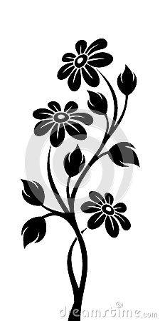 Black silhouette of branch with flowers by Naddiya, via Dreamstime