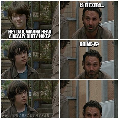 The Walking Dead Rick Carl Grimes Andrew Lincoln zombie LOL meme funny