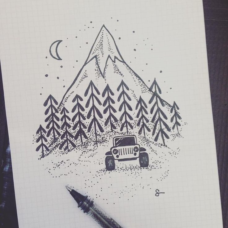 My fave so far. #sketch #ink #jeep