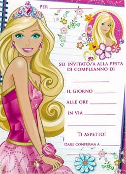 inviti da stampare gratis di Barbie Disney