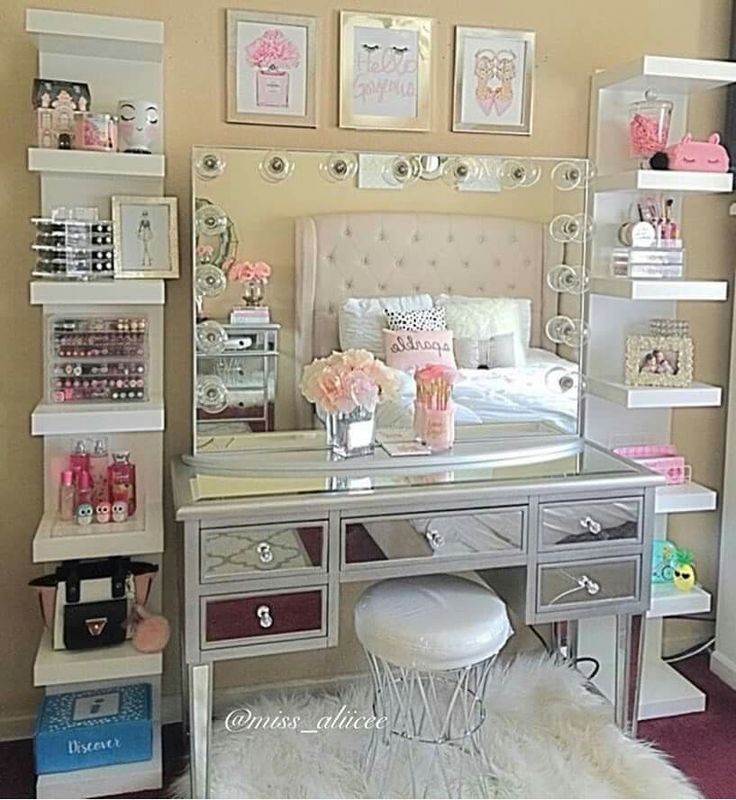 we love how miss_aliicee takes advantage of extra wall space to frame this vanity these shelves not only offer makeup storage but you can also add hair cheap vanity lighting