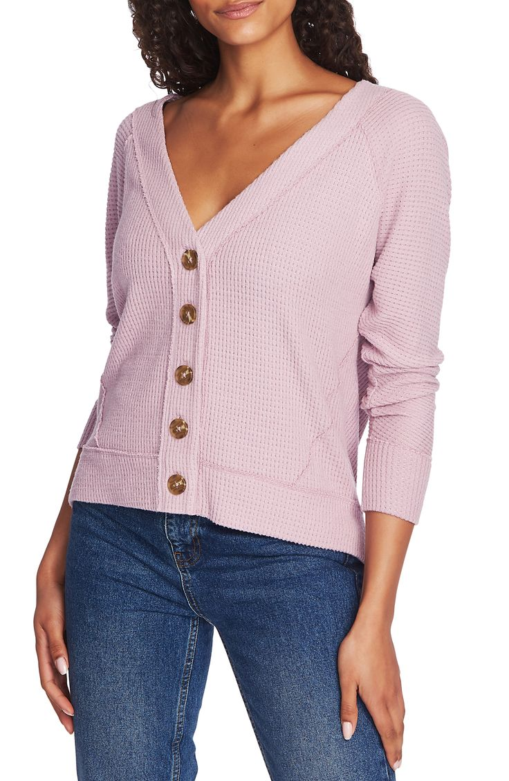 Women's 1.state Button Front Crop Cardigan, Size X-Large – Pink