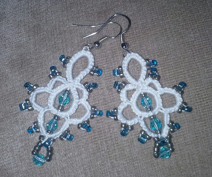 Tatted beaded earrings