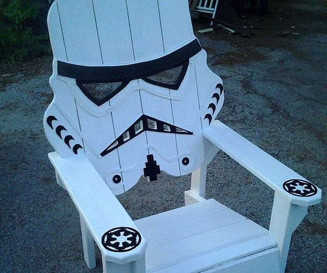 Relax after a long day of battling Rebel scum by plopping down on the Stormtrooper wooden lawn chair. This handmade furniture features all wood construction and superb artistic detailing to achieve a realistic look making it ideal for any Empire loyalist.