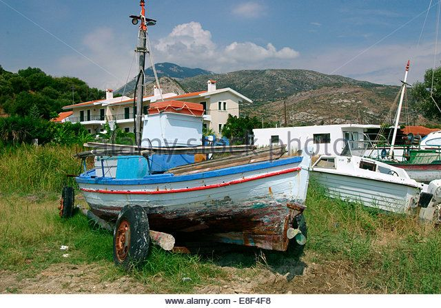 Old boat, Katelios, Kefalonia, Greece. - Stock Image