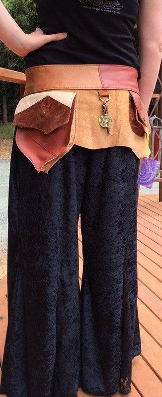 Leather Festival Belt with pockets by HippieGypsybyCherie on Etsy