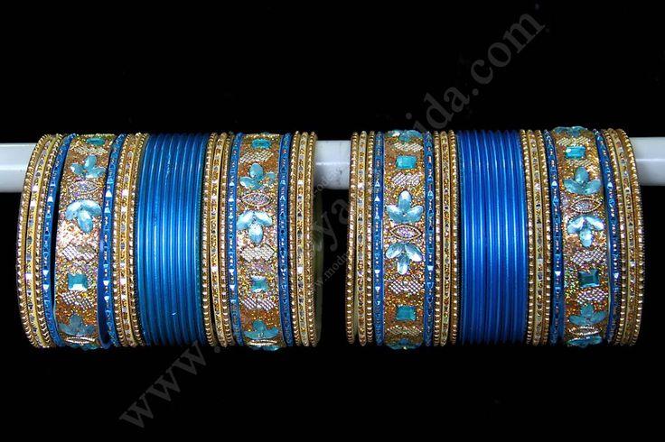 Песочно-голубые индийские браслеты, d=6,5 см и d=7 см