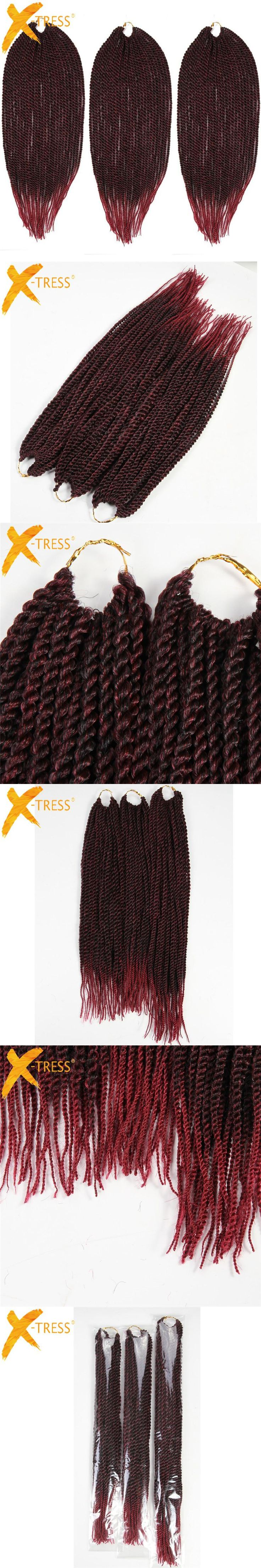 X-TRESS Synthetic Hair Senegalese Braiding Hair Extensions 3Pcs/Pack 18 20 22 inch Heat Resistant Ombre 81Strands Crochet Braids