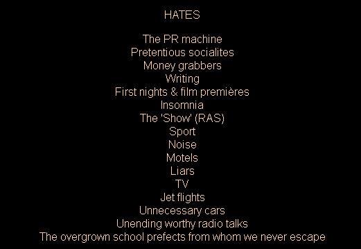 Patrick White List of Hates