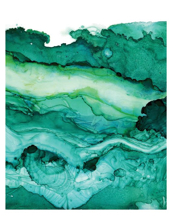 Teal and emerald greens show the layered depths of the ocean and its activity in this highly saturated watercolor and ink painting. The fluidity