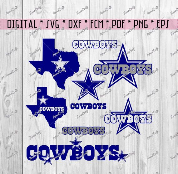 SVG COWBOYS DALLAS set of 8 cliparts digital by MamaCraft4You