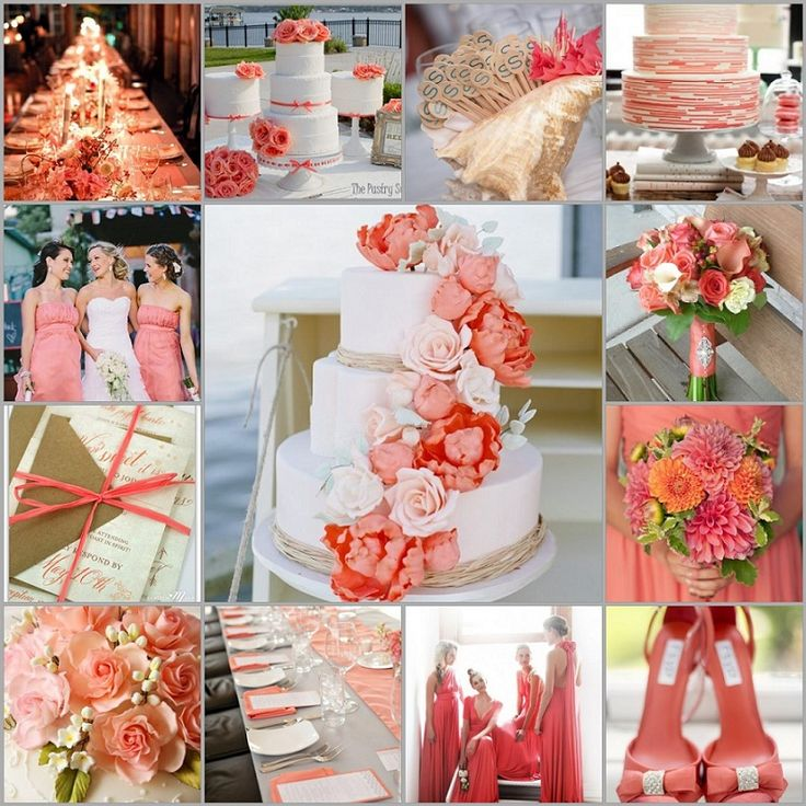 Coral Wedding Theme Colors: Coral And White Wedding Decorations And Cake Design