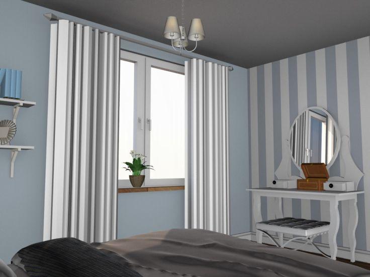 Sypialnia w stylu klasycznym z nutką angielskiego i prowansalskiego. Pokój w jasnych niebieskich barwach. ściany pomalowane w pasy.
