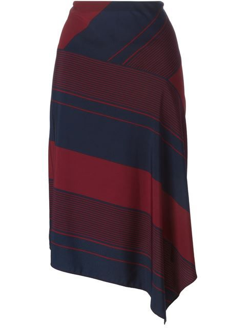 Asymmetrical stripe midi length skirt in navy and deep red hues. Perfect for fall!