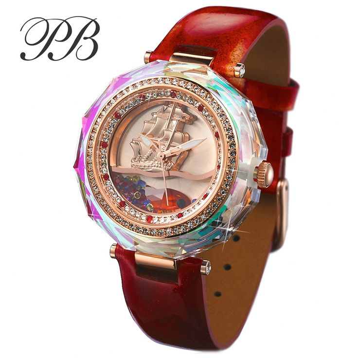 Find More Women's Watches Information about PB Brand 2016 Luxury Austrian Crystal Rose Gold 3D Sailing Women Dress Watch Top Genuine Leather Ladies Watches quartz watch,High Quality watch new,China watch the color purple Suppliers, Cheap watch iron from YIKOO Watches Store on Aliexpress.com