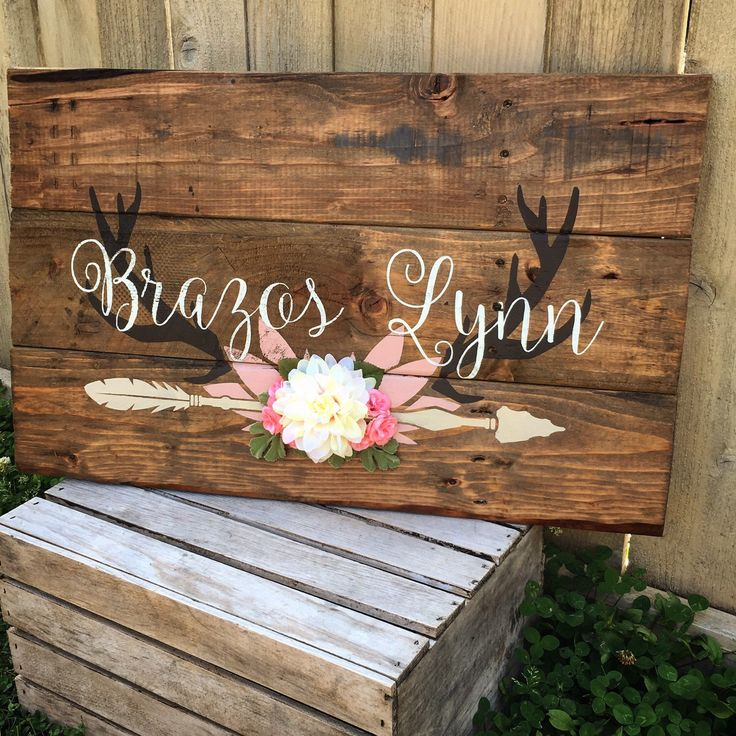 Rustic Large Nursery Baby Name Arrow And Antlers