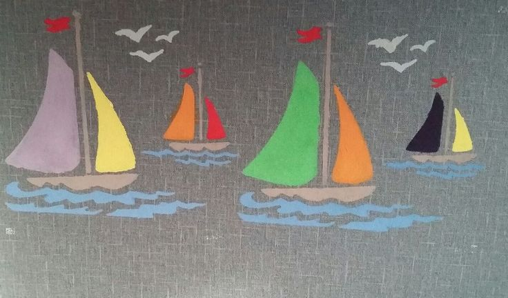 Sandra laat zijn wat je kan doen met verfsjablonen haar zoontje is gek op boten en zie wat je kan doen met 1 sjabloon !