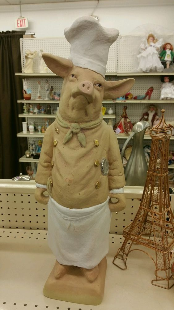 Stand up pig statue restaurant decor chef kitchen bbq Pig kitchen decor