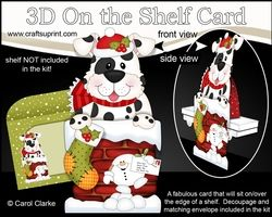 3D On The Shelf Card Kit - Christmas Cute Spotty Dog Is Helping Santa Take The Presents Down The Chimney