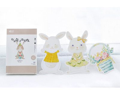 Bunny & Baskets Shaped Postcard Set