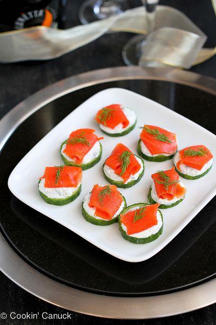 Healthy appetizer! Smoked & Cucumber Appetizer Recipe with Caper Yogurt | cookincanuck.com #recipe #appetizer