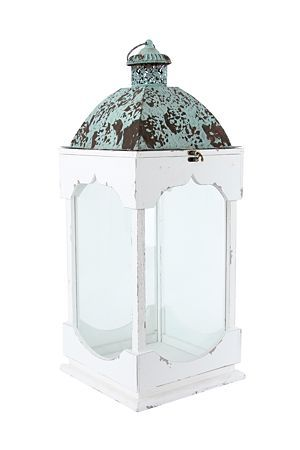 """This wood and glass lantern with a distressed dome is sure to make a statement in your home or outdoor space. With its unique design and shape this lantern can be used with a pillar candle to create a beautiful and exotic moroccan ambiance. Also available in large.<div class=""""pdpDescContent""""><BR /><b class=""""pdpDesc"""">Dimensions:</b><BR />L29.5xW29.5xH81.5 cm</div>"""