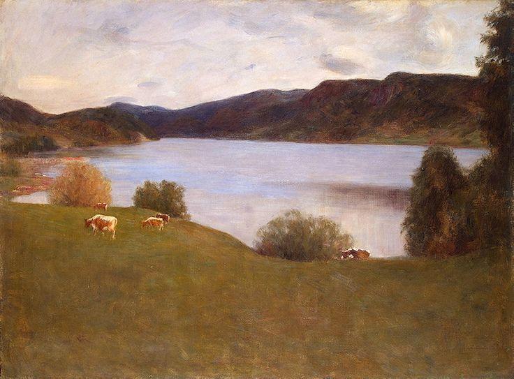 Werenskiold, Erik (1855-1936) - 1895 Landscape with a Lake (Hermitage Museum, St. Petersburg, Russia) | Flickr - Photo Sharing!