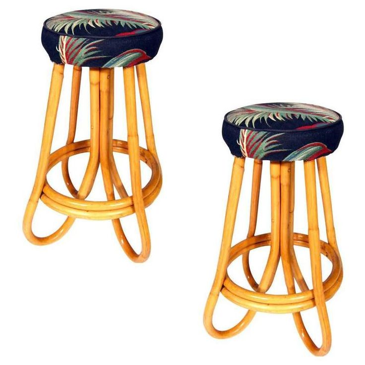 Pair of Four Pole Bent Leg Rattan Bar Stool   From a unique collection of antique and modern stools at https://www.1stdibs.com/furniture/seating/stools/