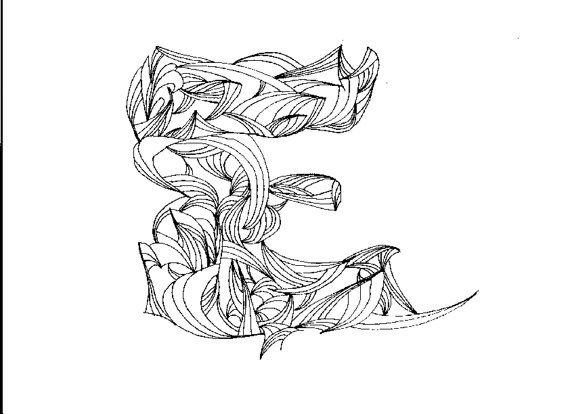 Adult coloring page letter e digital by Electronic coloring book for adults