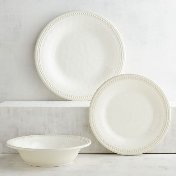 Our Beaded Cream Dinnerware could be the showstopper at your outdoor table or casual get-together. It has the rustic look of hand-shaped, glazed earthenware, with dimpled surfaces and detailed edging. But it's crafted entirely of shatter-resistant melamine. Easy to mix with outdoor drinkware, serving pieces or even everyday table linens, this is worry-free entertaining at its prettiest.