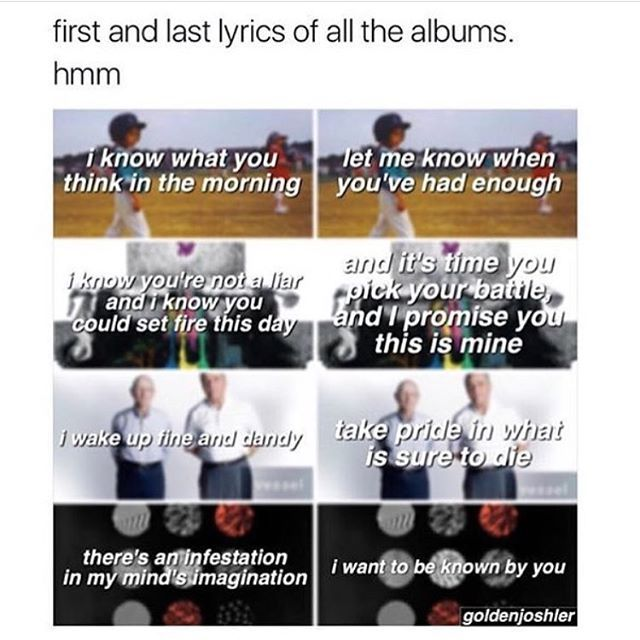 21 pilots first and last lyrics of their albums