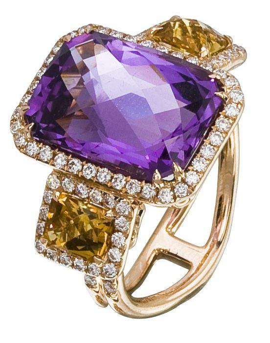 Diamond Ring, .76 Carat Diamonds 1.24 Carat Citrine 5.05 Carat Amethyst on 14K Rose Gold