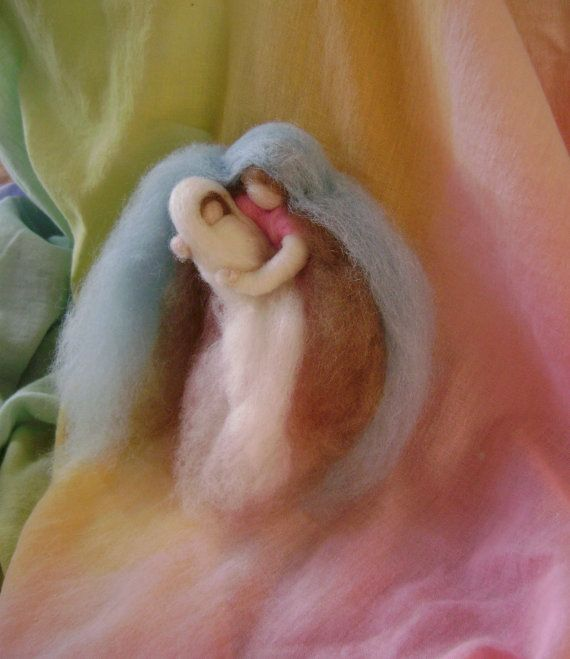 Mother and Child - Needle felted wool art piece - Ideal for a New Mother - New Baby