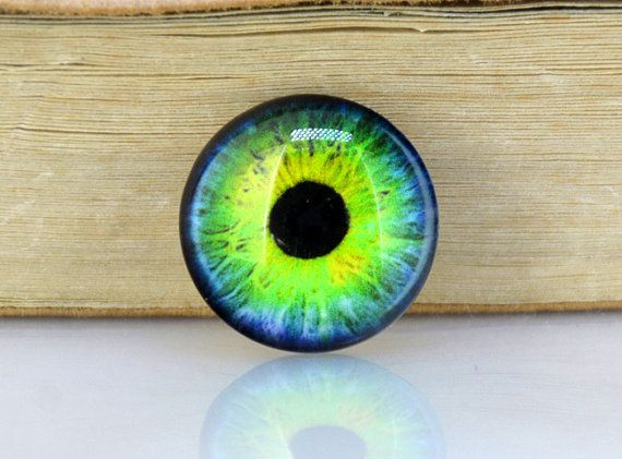 Circle Green Blue Eye Photo Glass Round Cabochon Image by backgard