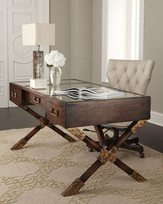 """Sleek acacia wood """"Paige"""" Desk from the John-Richard Collection, available at Neiman Marcus.""""The 3-drawer desk is topped with antiqued eglomise glass with x-design legs for wonderfully antique appeal"""" (costs about 2600 US dollars)"""