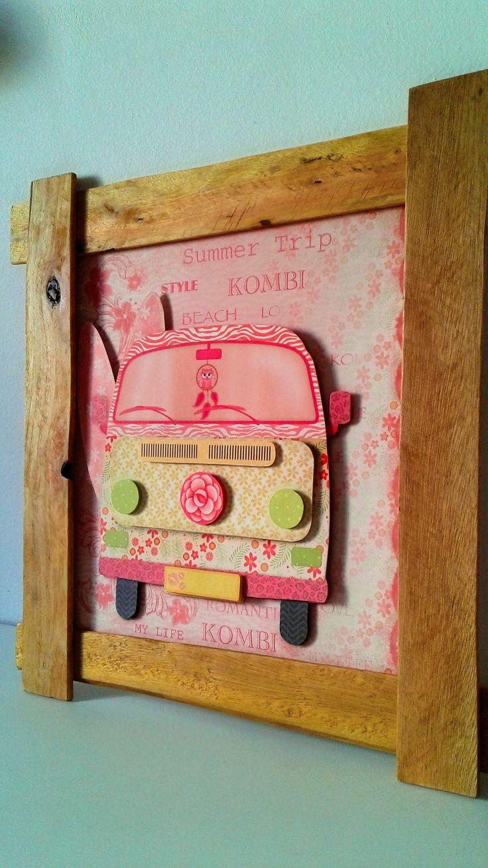 quadro kombi 3D rosa e prancha com moldura de caixote