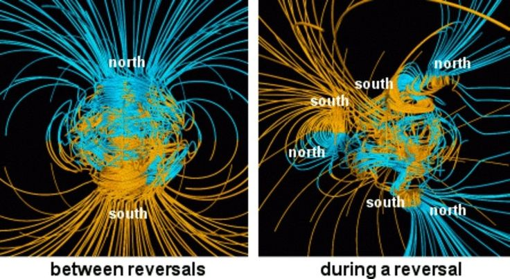 Over the last 20 million years, Earth's magnetic field has flipped its polarity about once every 200,000 to 300,000 years. For the last 780,000 years, we've been stuck in our current magnetic configuration, although there are signs that right now something is afoot. Earth's magnetic field appears to have been weakening at a rate faster than you'd get with normal variations. And there's a patch inside the Earth underneath southern Africa that appears to have reverse polarity – if you could…