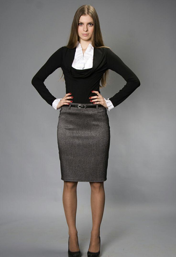 Pencil White Navy House Skirt