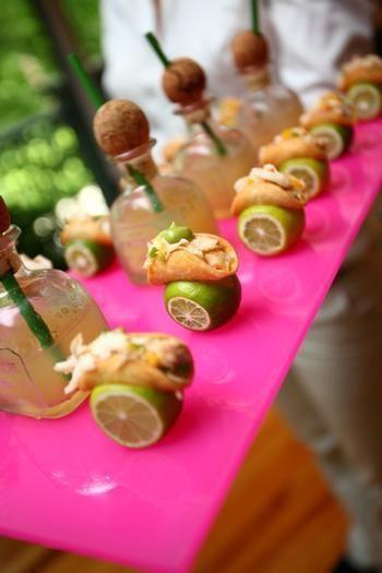 Mexican wedding food. But I really like the patron jars. :)