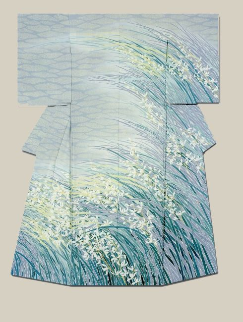 """""""Checking the wind"""" a kimono created by artist Kenji Nakai.  Jury Prize winner at the (Institute ) Japan Dyers Association"""
