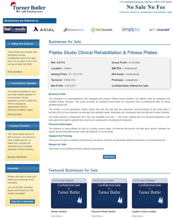 Are you searching to buy pilates studio and fitness businesses for sale from turner butler  This business is a well-established fully equipped and popular Pilates studio located in an affluent area an operating with Certified Pilates Teachers.  #turnerbutler #businessesforsale #buyingabusiness #UKbusinesstransferagents #pilates #studio #Dublin #wesellbusiness #sellingyourbusiness #freebusinessvaluation