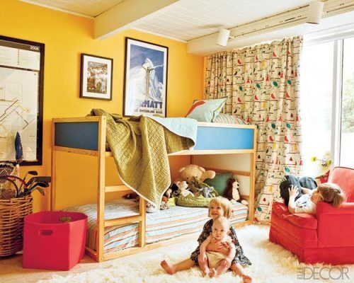 Gender Neutral Kids Rooms  Primary colors, used in conjunction with white and other neutrals, create a lively gender neutral space. Bird pattern curtains and lots of texture soften the straight lines of the furnishings.